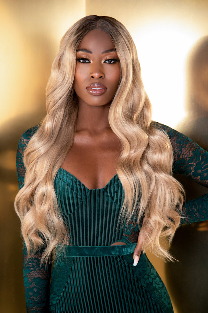 "TROPEZ - 22"" ROOTED BLONDE CURLED LACE FRONT WIG"