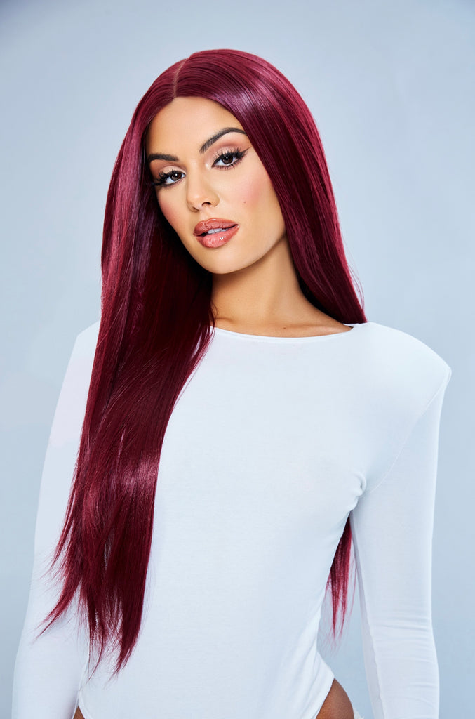 "SHIRAZ  - 24"" Red Long Straight Lace Front Wig"