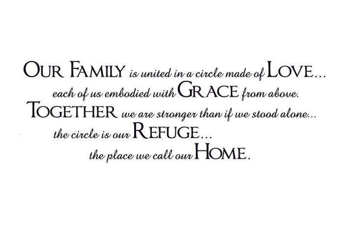 Our family is united in a circle Vinyl Wall Decal