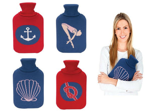 Hot Water Rubber Bottle with Knitted Nautical Theme Covers Winter Warm 2L