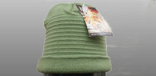 Georgia  Ribbed Beanie by Rigon - Olive Green