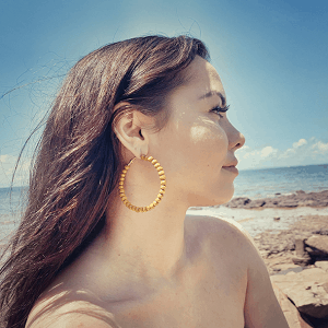 Wooden Bead Hoop Earrings by Dibora