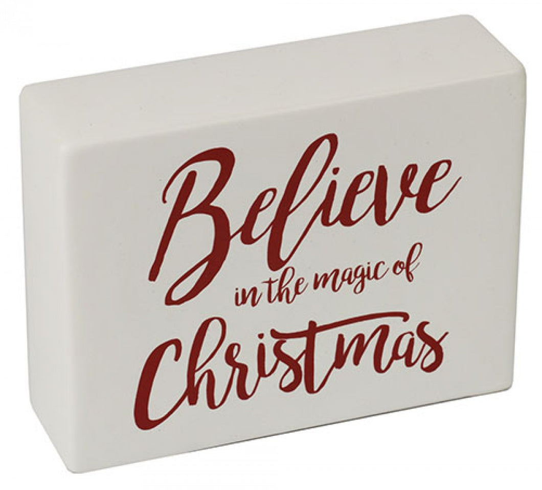 Ceramic Sign Believe in the Magic of Christmas Sign