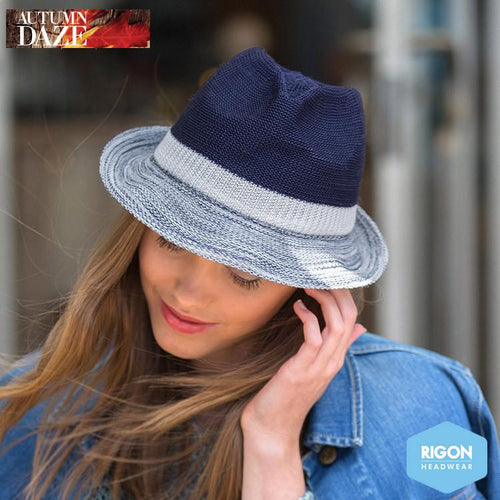 Colourblock Trilby Hat by Rigon