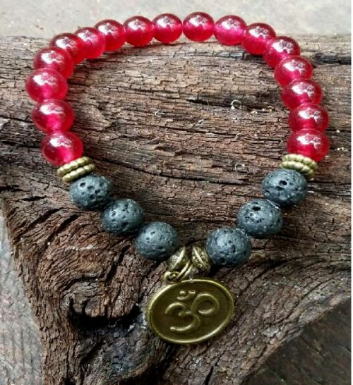 Crystal Bracelet – Lava stone & Red Jade with Om Charm