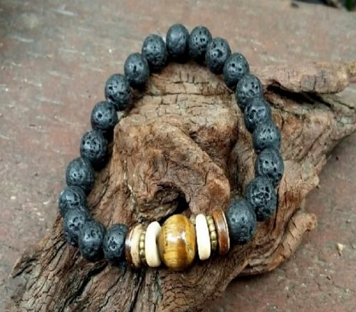 Crystal Bracelet – Lava stone & Tigers Eye