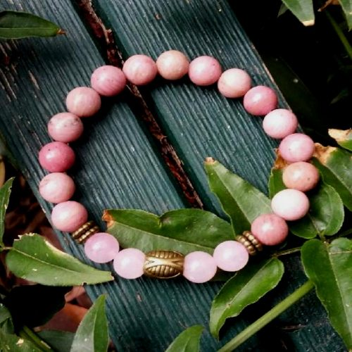 Crystal Bracelet – Rhodonite & Rose Quartz