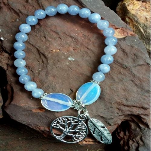 Crystal bracelet Blue quartz & Opalite Tree of Life Charm