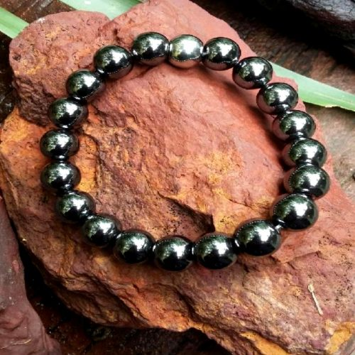 Crystal bracelet Hematite with stainless steel bead