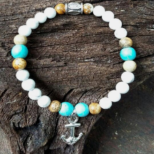 Crystal Howlite Bracelet with Anchor