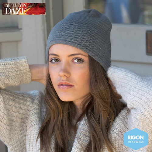Georgia Ribbed Beanie by Rigon Grey