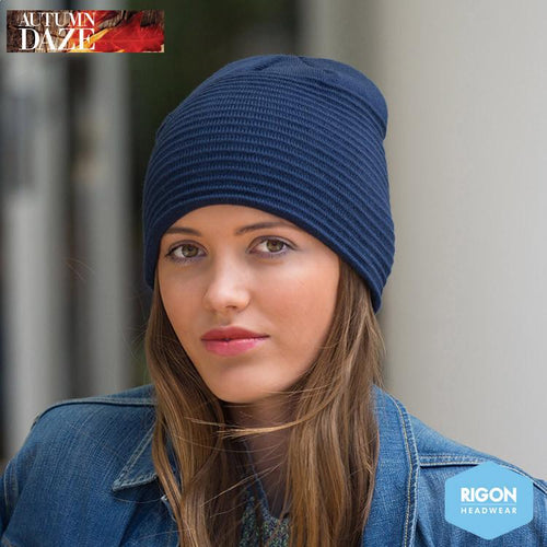 Ribbed Beanie by Rigon, Navy