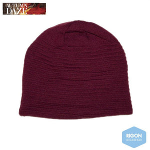 Ribbed Beanie by Rigon, Wine