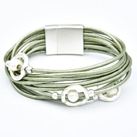 Multilayer Pearl Green Bracelet by Dibora