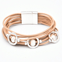 Multilayer Pearl Peach  Bracelet by Dibora