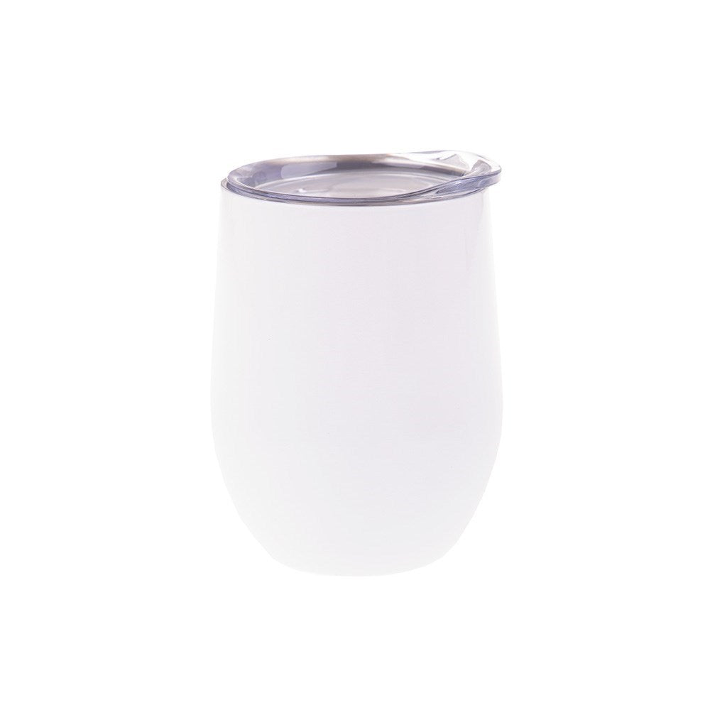 Oasis Stainless Steel Double Walled Stemless Wine Tumbler 330ml White