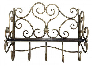 Ornate Shelf with Hooks