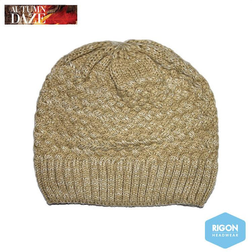 Salt & Pepper Knitted Beanie by Rigon Beige