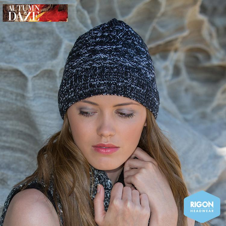 Salt & Pepper Knitted Beanie by Rigon Black