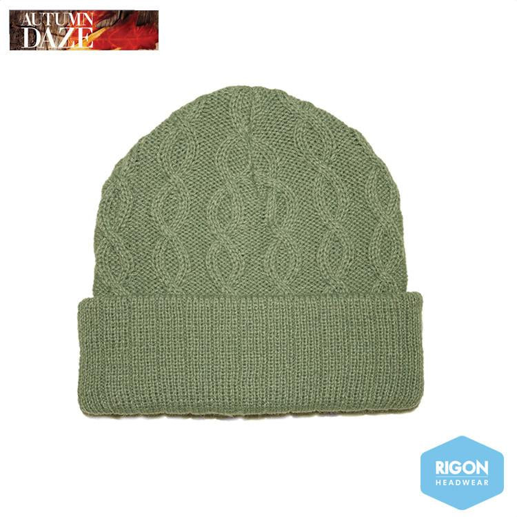 Tori Basket Weave Knitted Beanie by Rigon, Olive Green