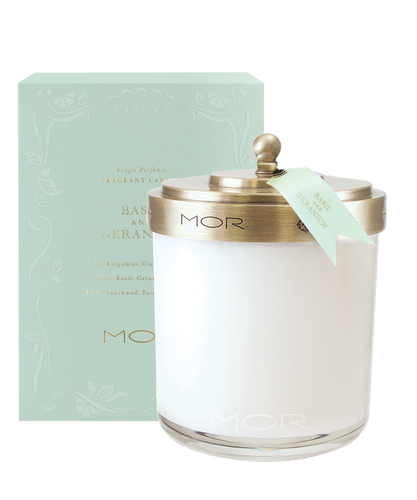 MOR Scented Home Library Basil & Geranium Fragrant Candle