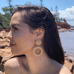 Straw Woven Earrings – Beige