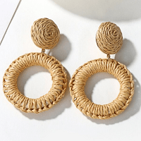 Load image into Gallery viewer, Straw Woven Earrings – Beige
