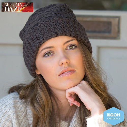 Tori Basket Weave Knitted Beanie by Rigon, Charcoal