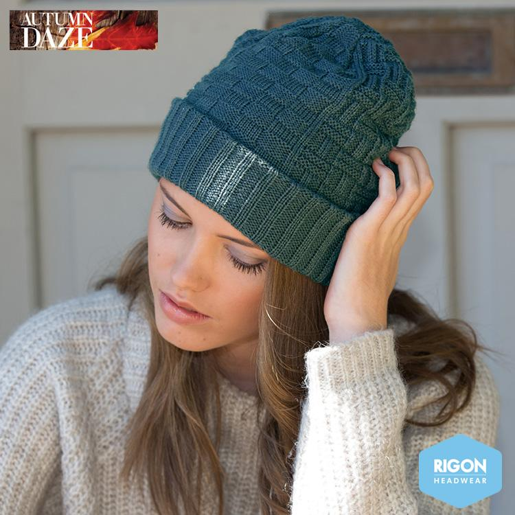 Tori Basket Weave Knitted Beanie by Rigon, Teal Green