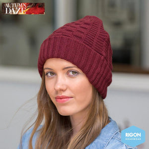 Tori Basket Weave Knitted Beanie by Rigon, Wine
