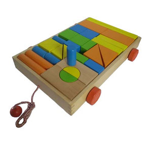 Wooden Castle Building Blocks Cart Pull Along