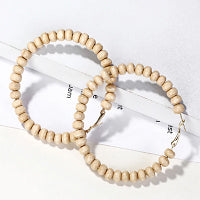 WOODEN BEAD HOOP EARRINGS NATURAL BY DIBORA