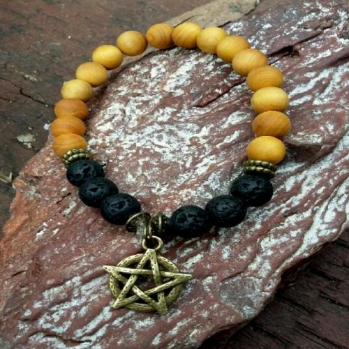 Crystal Bracelet – Lava stone & Wood with Pentagram