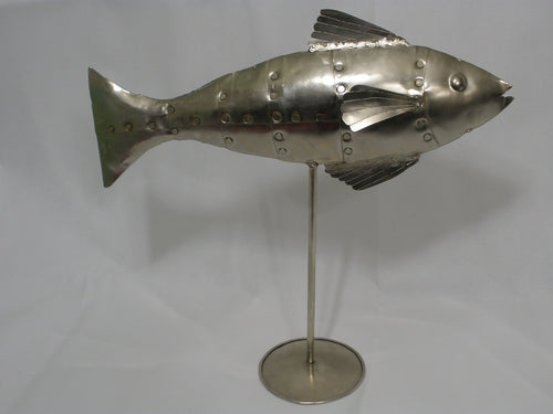 Handcrafted Metal Fish on Stand