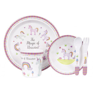 Ashdene Unicorn Magic 5 Piece Kids Dinner Set