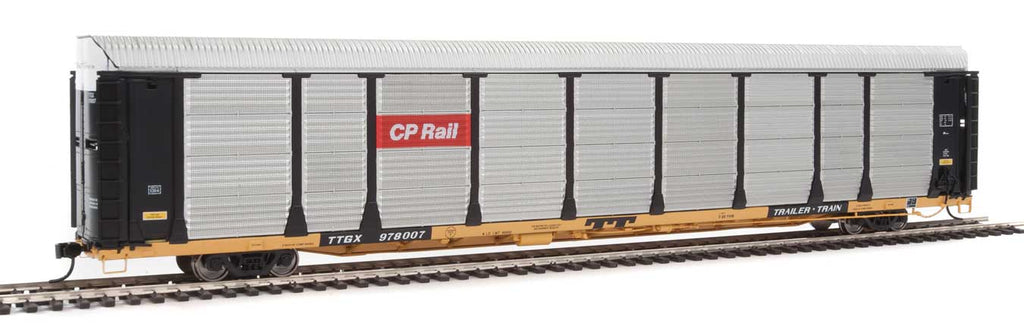 Walthers Proto 89' Thrall Bi-Level Auto Carrier - Ready To Run -- Canadian Pacific Rack, TTGX Flatcar #978007 (black, silver; yellow Flat)