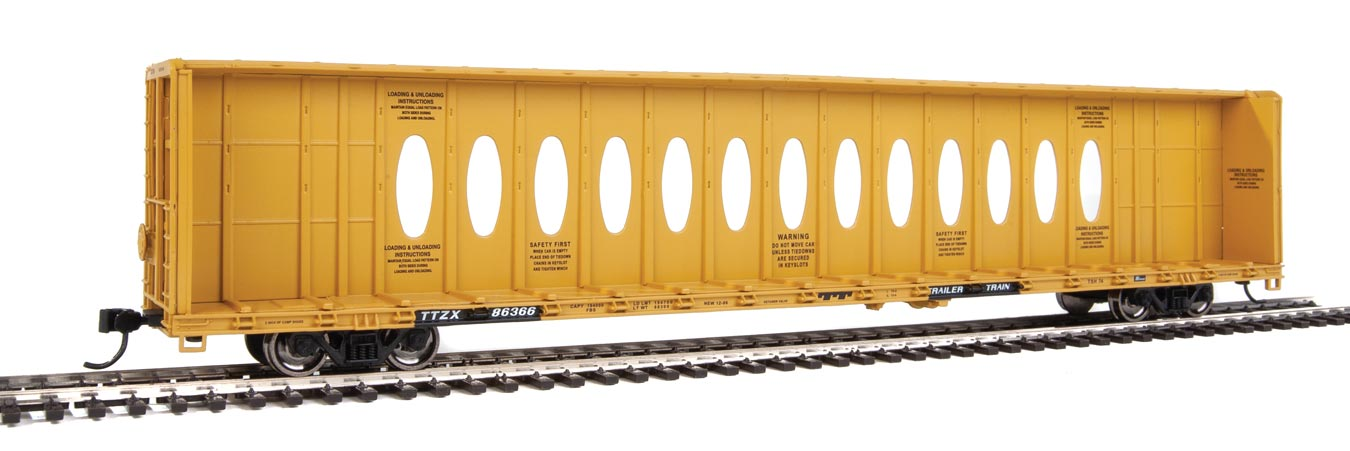 Walthers HO 72' Centerbeam Flatcar with Standard Beam Trailer Train TTZX #86366