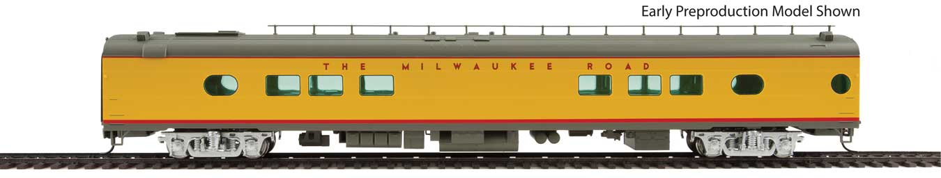 Walthers Proto 85' Milwaukee Road 26-Seat Tap Lounge Twin Cities Hiawatha #172