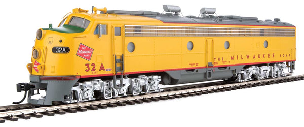 Walthers Proto HO EMD E9 A-B Set Milwaukee Road 32A, 32B (yellow, gray, red)with LokSound