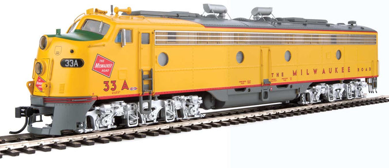 Walthers Proto HO EMD E9 A-B Set Milwaukee Road 33A, 33B (yellow, gray, red)with LokSound 5