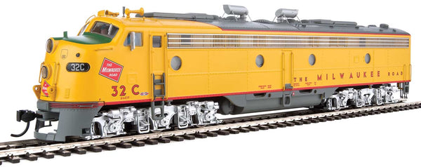 Walthers Proto HO EMD E9A Milwaukee Road 32C (yellow, gray, red)with LokSound 5