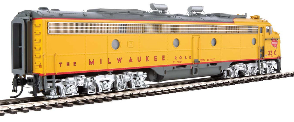 Walthers Proto HO EMD E9A Milwaukee Road 33C (yellow, gray, red)with LokSound 5