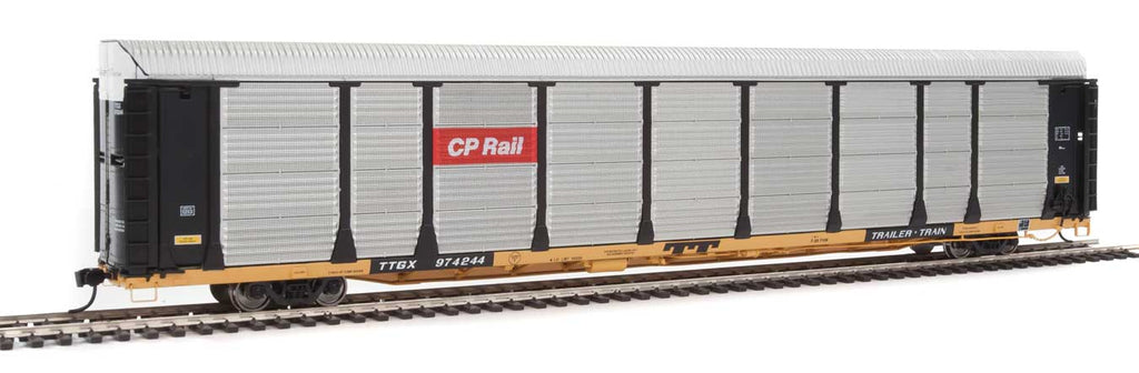 Walthers Proto 89' Thrall Bi-Level Auto Carrier - Ready To Run -- Canadian Pacific Rack, TTGX Flatcar #974244 (black, silver; yellow Flat)