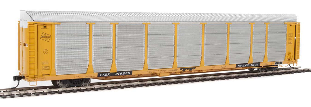 Walthers Proto 89' Thrall Bi-Level Auto Carrier - Ready To Run -- Milwaukee Road Rack, TTGX Flatcar #910250 (yellow, silver; yellow Flat)
