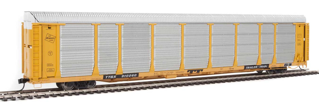 Walthers Proto 89' Thrall Bi-Level Auto Carrier - Ready To Run -- Milwaukee Road Rack, TTGX Flatcar #910260 (yellow, silver; yellow Flat)