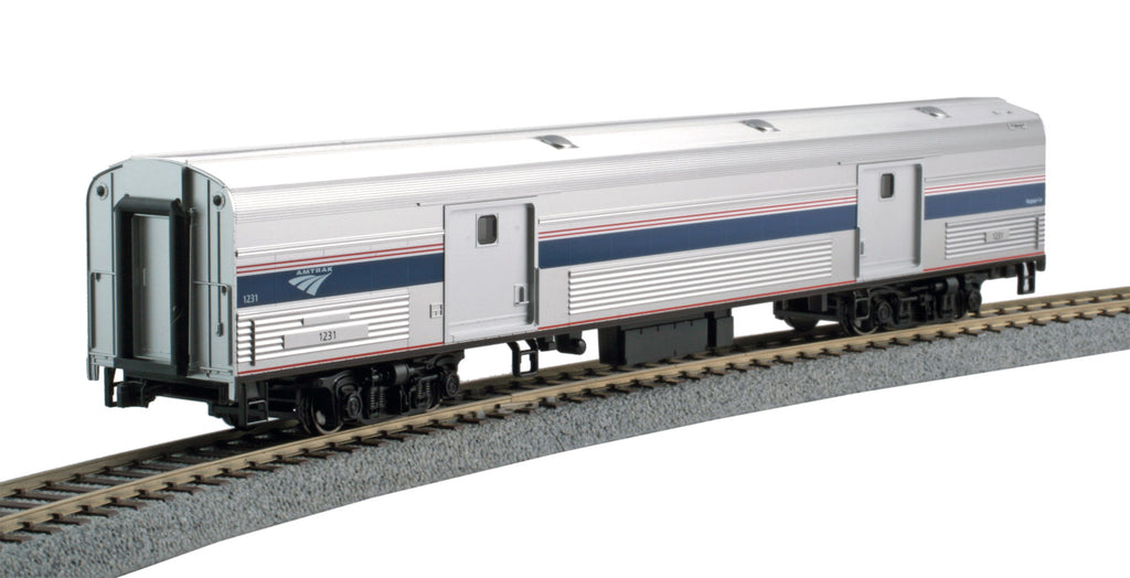 Kato HO Budd 73' Fluted-Side Baggage Car Amtrak #1231 (Phase IV; silver, blue, gray, red)