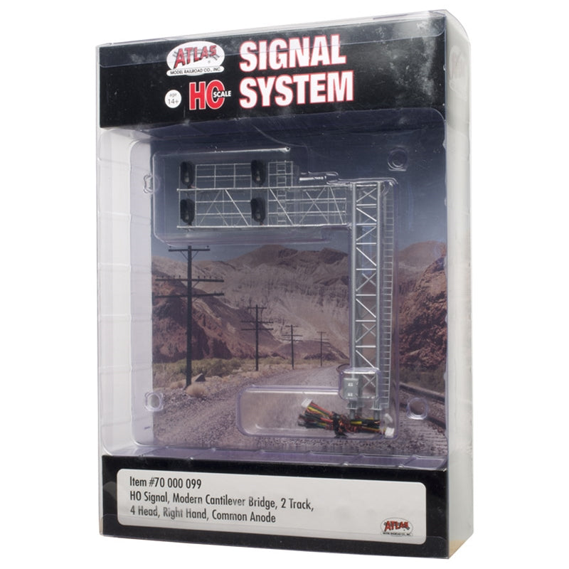 Atlas HO SCALE SIGNAL MODERN CANTILEVER BRIDGE 2 TRACK, 4 HEAD RH