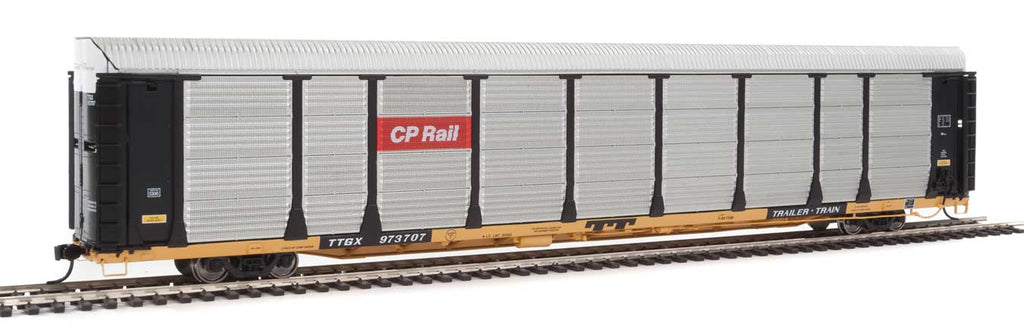 Walthers Proto 89' Thrall Bi-Level Auto Carrier - Ready To Run -- Canadian Pacific Rack, TTGX Flatcar #973707 (black, silver; yellow Flat)