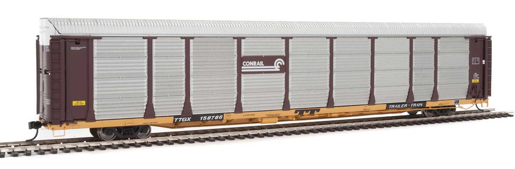 Walthers Proto 89' Thrall Bi-Level Auto Carrier - Ready To Run -- Conrail Rack, TTGX Flatcar #158786 (Boxcar Red, silver; yellow Flat)
