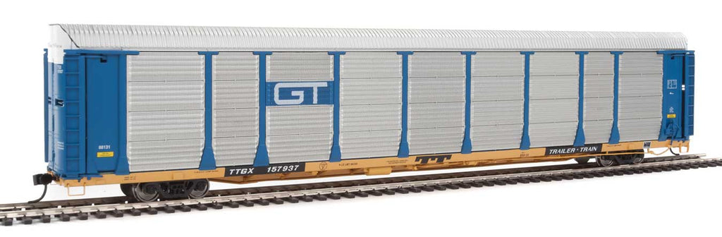 Walthers Proto 89' Thrall Bi-Level Auto Carrier - Ready To Run -- Grand Trunk Western Rack, TTGX Flatcar #88131/157937 (blue, silver; yellow F